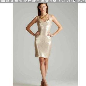 NWT Nicole Miller gold sequin dress